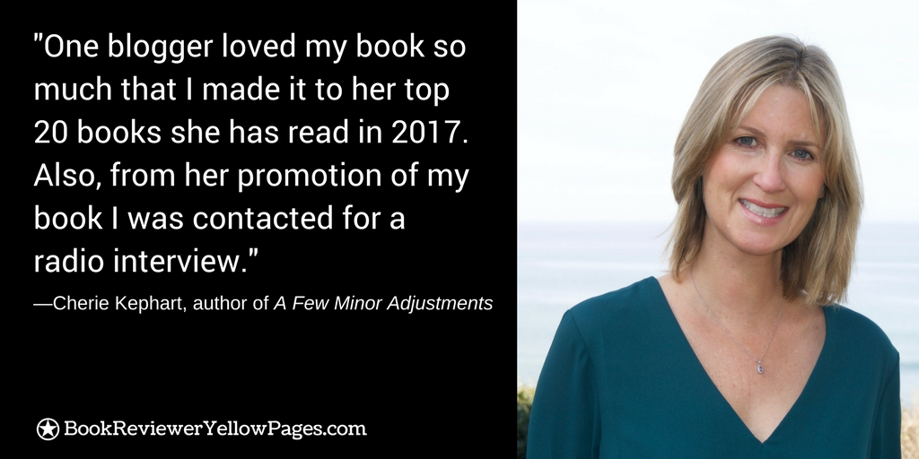 "Author Cherie Kephart Interview About Getting Book Blogger Reviews for ""A Few Minor Adjustments"""